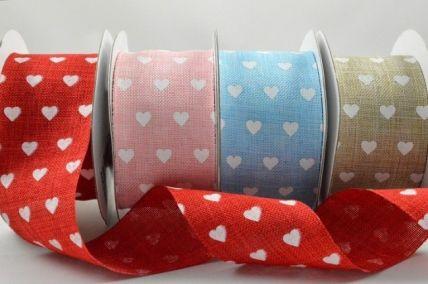 38mm Heart Printed Coloured Light Ribbon x 10 Metre Rolls!!