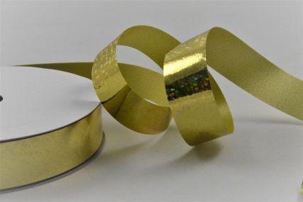15mm Gold Metallic Holographic Spotted Polypropylene Ribbon x 10 Metre Rolls!