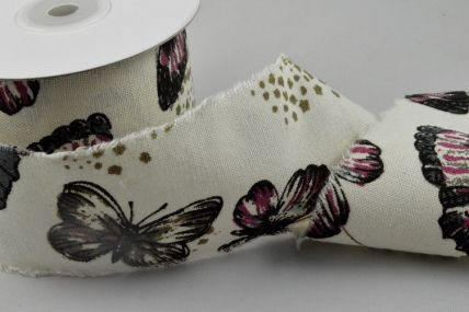 60mm Natural Butterfly Burlap Ribbon x 10 Metre Rolls!