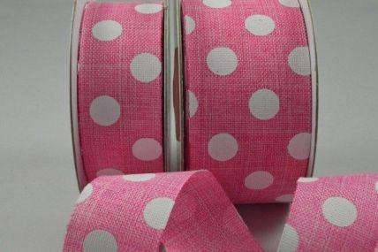 25mm & 38mm Baby Pink Burlap Polka Printed Ribbon x 10 Metre Rolls