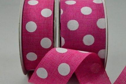 25mm & 38mm Pink Burlap Polka Printed Ribbon x 10 Metre Rolls!
