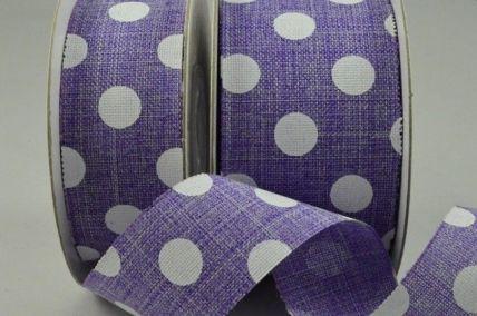 25mm Purple Burlap Polka Printed Ribbon x 10 Metre Rolls!