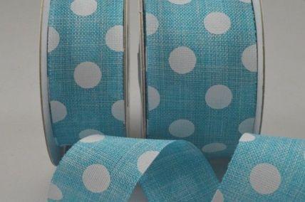 77022 - 25mm & 38mm Blue Burlap Polka Printed Ribbon x 10 Metre Rolls!
