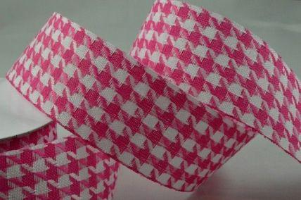 25mm & 38mm Pink Woven Chevron Check Ribbon x 20 Metre Rolls!