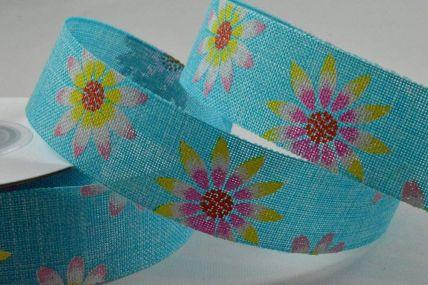 25mm & 38mm Blue Flower Printed Ribbon x 10 Metre Rolls!