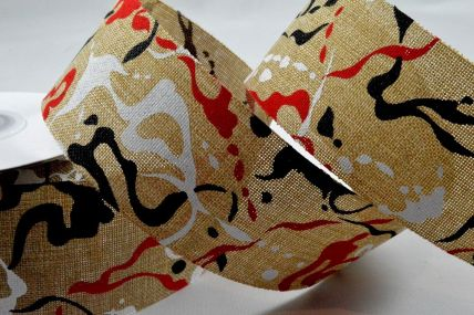 25mm & 38mm Red Contemporary Painting Splash Ribbon x 10 Metre Rolls!