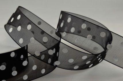 10mm & 25mm Black Sheer Spotted Dot Ribbon x 20 Metres!