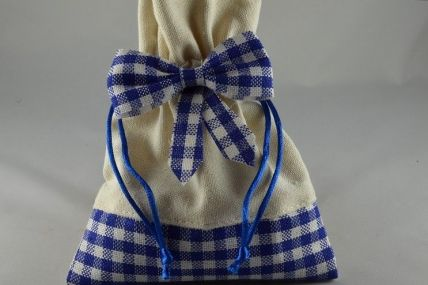 Pack of 5 Blue & Cream Gingham Gift Bags