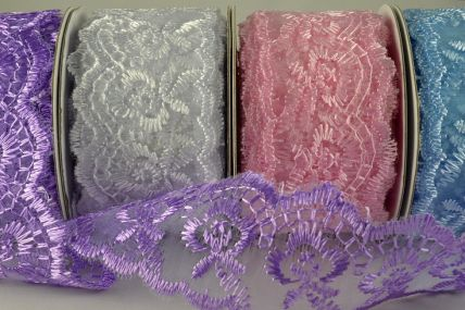 38mm Coloured Woven Lace Effect Design x 10 Yard Rolls!!