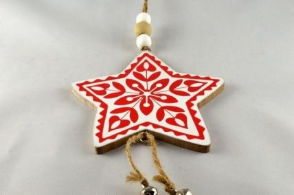 White Wooden Christmas Star with Hanging Loop!