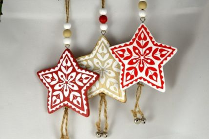 Wooden Christmas Star with Hanging Loop