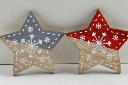 88027 - 45mm Adhesive Wooden Snowflake Stars x 6 Pieces!!