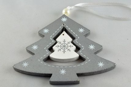 Silver Christmas Tree Decoration with Attached Loop!