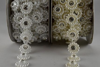 14mm Bead Decorations with Central Crystal x 3 Metre Rolls!!
