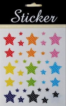 Spotted Coloured Star Stickers!