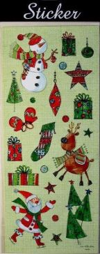 Red & Green Reindeer, Snowmen & Santa Christmas Stickers!