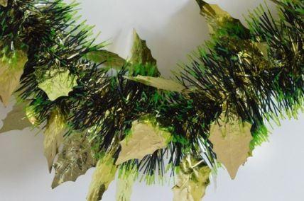 Gold Triple Coloured Holly Leaf Christmas Tinsel x 2 Metre Lengths!
