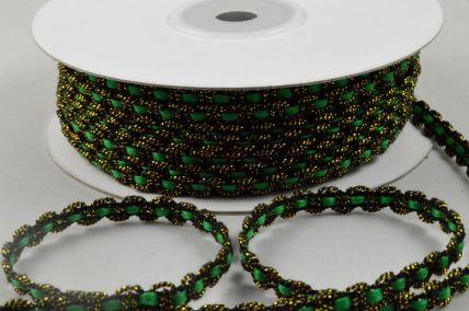 88144 - 6mm Green Thread with Waving Black & Gold Edging x 25 Metre Rolls!