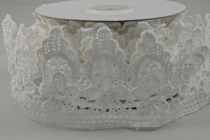 50mm White Lace Flower Design x 4.5 Yard Rolls!