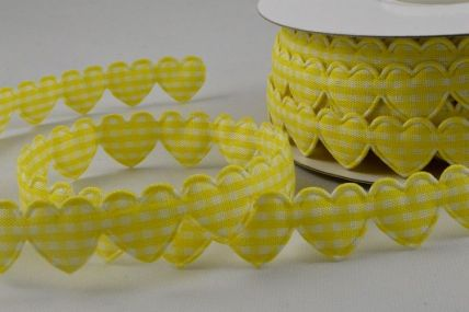 15mm Yellow Gingham Fabric Hearts x 10 Metre Length!