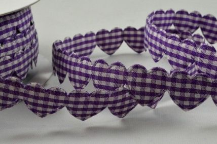 15mm Purple Gingham Fabric Hearts x 10 Metre Length!