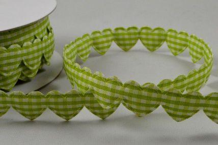 15mm Light Green Gingham Fabric Hearts x 10 Metre Length!