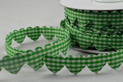 15mm Green Gingham Fabric Hearts x 10 Metre Length!