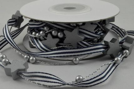 5mm Navy Pencil Striped Ribbon with Star & Pearl Accessories x 3 Metre Rolls!