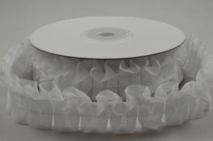 25mm White Frill Ribbon x 5 Metre Rolls