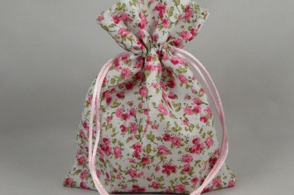 Pack of 3 Baby Pink Floral Bags with Matching Draw Strings