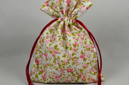 Set of 3 Small or Medium Pink Floral Bags with Matching Draw Strings!