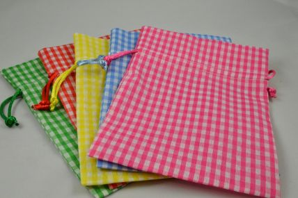 Set of 3 Small Or Medium Gingham Gift Bags with Draw Strings!