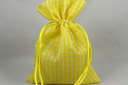 Set of 3 Medium Yellow Gingham Bags with Matching Draw Strings: 13cm x 18cm!