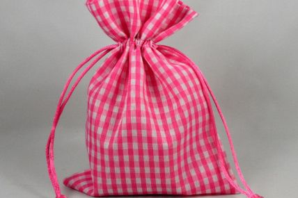 Set of 3 Small or Medium Pink Gingham Bags with Matching Draw Strings!