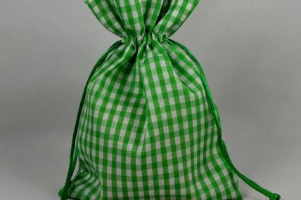 Set of 3 Green Gingham Bags with Matching Draw Strings!