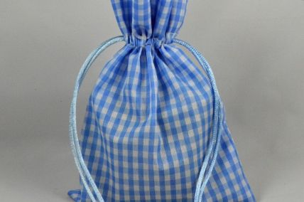 Set of 3 Small Or Medium Blue Gingham Gift Bags with Draw Strings!
