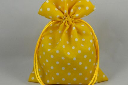 Set of 3 Small Yellow Polka Dot Gift Bags with Draw Strings: 10.5cm x 13cm!