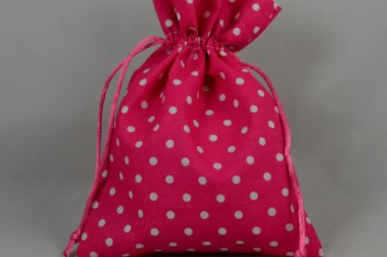 Set of 3 Small or Medium Pink Polka Dot Gift Bags with Draw Strings!