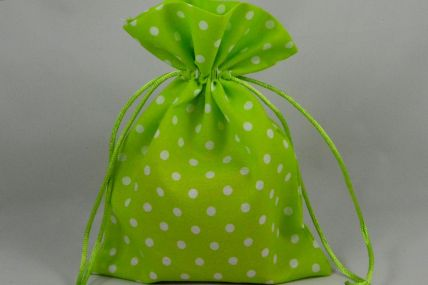 Set of 3 Green Polka Dot Gift Bags with Draw Strings!