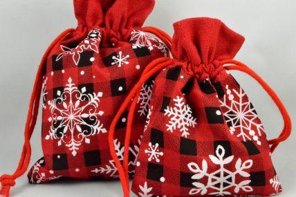 Set of 3 Small Merry Christmas Snowflake Bags & Draw Strings: 10cm x 13cm!