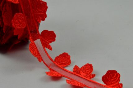 35mm Red Satin Sheer Ribbon with Rose Edges x 10 Metre Rolls!