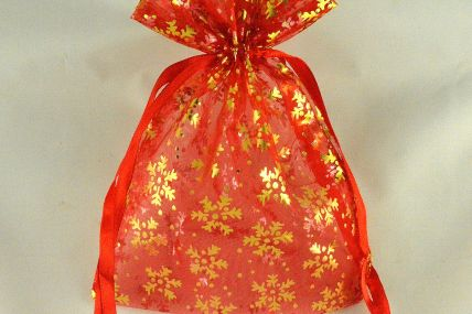 88174 - Red 13cm x 18cm Snowflake Printed Organza Bags (3 Bags)
