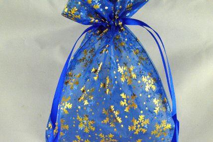 88174 - Blue 13cm x 18cm Snowflake Printed Organza Bags (3 Bags)