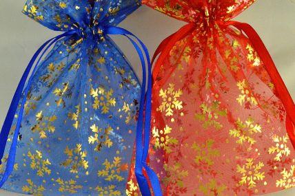 88174 - 13cm x 18cm Snowflake Printed Organza Bags (3 Bags)