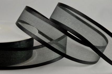 10mm, 15mm, 25mm & 40mm Black Satin Sheer Ribbon x 25 Metre Rolls!