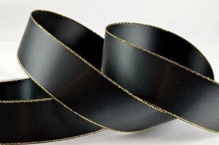 3mm Black Satin with Lurex Edge x 20 Metre Rolls!!