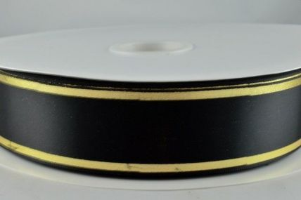25mm & 38mm Black Satin Tramline Ribbon x 100 Metre Rolls!!