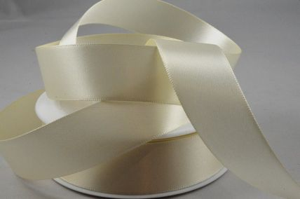 3mm, 7mm, 10mm, 15mm, 25mm, 38mm & 50mm Ivory Double Sided Satin Rolls