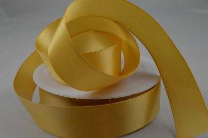 3mm, 7mm, 10mm, 15mm, 25mm, 38mm & 50mm Light Gold Double Sided Satin Rolls