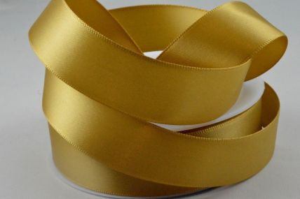 3mm, 7mm, 10mm, 15mm, 25mm, 38mm & 50mm Gold Double Sided Satin Rolls